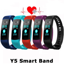 Smart sports band Color Screen Bracelet Y5 with HR Blood Pressure Oxygen Monitor Fitness Tracker fitbit for Xiaomi IOS Android Samsung Phone