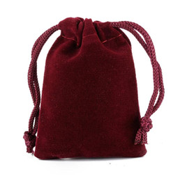 Free Ship 200pcs Wine Red High quality Velvet Bag Jewelry Bags Wedding Party Candy Xmas Gift Bags
