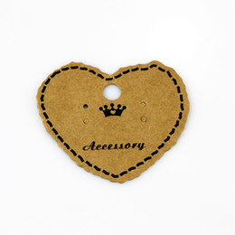 Wholesale Paper Jewelry Display Packing Card,1000pcs lot Heart Shape Brown Crown Custom Jewelry Earring Packaging Display Cards