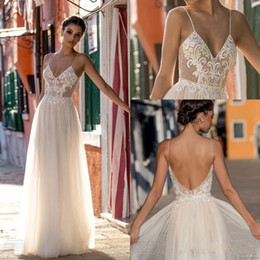 2019 Modest Sexy Gali Karten Garden Beach Wedding Dresses Sleeveless Spaghetti Straps Robe De Soiree Backless Long Boho Brdial Gowns