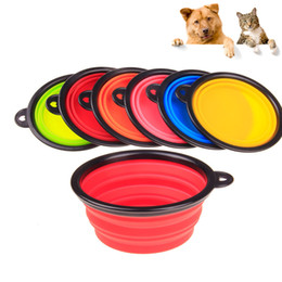 Folding dog bowl portable silicone collapsible pet food bowl cat puppy easy carry outdoor travel bowl with carabiner