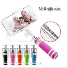Mini portable Handheld Selfie Stick Phone Monopod Wired Remote Extendable holder Portable selfie stick timer for samsung S5 S6 S7 iphone
