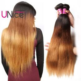 UNice Hair Ombre T1B 4 27 Peruvian Straight Human Hair Bundles Remy Weaves 4 Bundles Cheap Silk Wholesale Brazilian Ombre