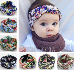 Baby Bohemia Braided Cross Knotted Floral Headbands For Girls Children Flower Imprint Hairbands Headwrap Kids Cotton Hair Accessories KHA418