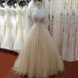 Light Champagne Vintage Wedding Dresses Beaded Lace Appliques Spaghetti Straps Ruched Tulle Long A-line Bridal Gowns Custom Made
