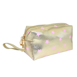 Female Stars Shine Cosmetic Bags Striped Silvery Paillette Makeup Case Women Travel Toiletry Makeup Wash Organizer tools Zipper