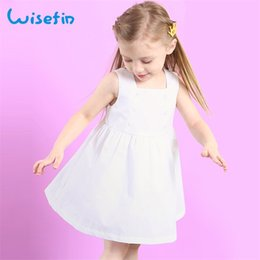 Wisefin Girl Summer Cotton Dress White Solid Sleeveless Angle Dress Cute Button baby Princess Clothing 2018 New Kids Dresses