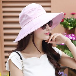 New style Summer Womens UPF50 Cotton Packable Sun Hats w Chin Cord Wide Brim Stylish 56-58CM Outdoor Fishing Floppy Cap.