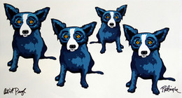 George Rodrigue Animal Blue Dog,Oil Painting Reproduction High Quality Giclee Print on Canvas Modern Home Art Decor G048