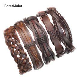 FL9- Brown pulseras cuero bracelets bangles (5pcs lot) charms ethnichandmade genuine braided wrap rope hemp mens leather bracelet for gift