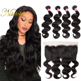 Nadula Hair Virgin Brazilian Body Wavy Wave With Lace Frontal 3Bundles Weaves With Lace Frontal Remy Human Hair Cuticle Aligned Hair Wet