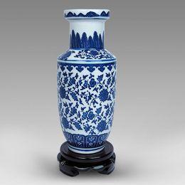 Jingdezhen ceramics antique blue and white porcelain small vase Chinese home living room decoration crafts TV cabinet decoration