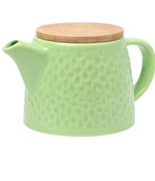 Ceramic teapot with stainless steel strainer and bamboo lid