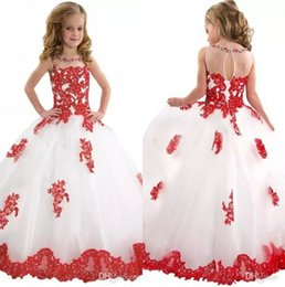 Elegant Crew Neck Lace A Line Flower Girl' Dresses Tulle Applique Beaded Floor length Girls' Pageant Dresses