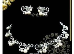chaming purple diamond crystal birde pearl set lady's necklace earings fhfh