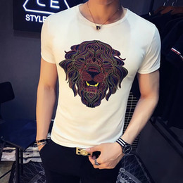 2018 Summer Designer T Shirts For Men Tops Tiger lion Head Letter Embroidery T Shirt Mens Clothing Short Sleeve Tshirt Men Tops White M-2XL