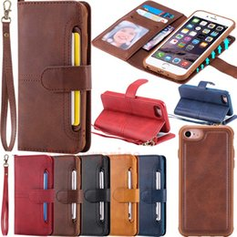Magnetic Removable Leather Wallet Flip Card Case Cover For iPhone X 6S 7 8 Plus Samsung Galaxy S9 S8 S9 Plus S8 Plus
