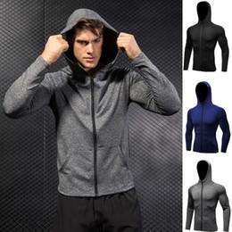 Men's Quick-Dry Hoodies Running Sweatshirt Slim Fit Zip Up Fitness Gym T Shirts DK7704TSG