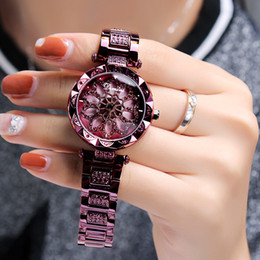 Luxury Ladies Dress Quartz Diamond Alloy Gift Women's Watches Trend of Fashion Personality to run the Windmill Stainless Steel Watch