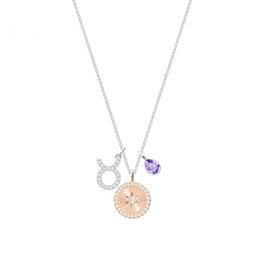 Crystal silver plated ladies constellation fashion gift necklace pendant
