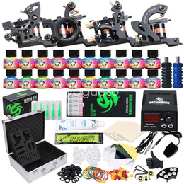 Complete Tattoo Kit 4 Guns Machine 10 Colors Ink Set Power Supply Disposable Tattoo Needles D3020