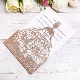 2019 New Gold Glitter Laser Cut Crown Princess Invitations Cards For Birthday Sweet 15 Quinceanera, Sweet 16th Invite