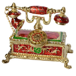antique telephone design decoration trinket box rhinestone jeweled jewelry box hinged jewelry packaging & display Christmas gifts