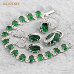 Green Wedding Jewelry Sets - Wholesale AAA Zircon Oval Stone Silver Plated Pendant Drop Earrings Ring Bracelet For Women Rings Size 6-10