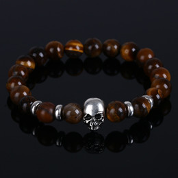 Fashion vintage Natural Stone Skull Bracelets For Women Lava Stone Beads Stone Men Bracelet party gifts