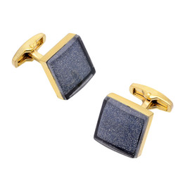 Gold Cufflinks Star Sand Square Metal Cuffs Buttons Wedding Gifts Shirt Buttons Free Shipping