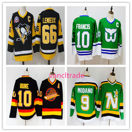 Top Quality Vintage Hockey Jersey 66 Mario Lemieux Black 10 Pavel Bure Black 10 Ron Francis Green 9 Mike Modano Green All Stitching Jersey