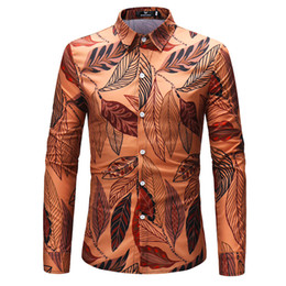 Fashionable leaves printed long sleeve shirt for men spring and autumn comfortable casual shirt new.