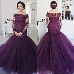 Elegant Grape Long Sleeves Mermaid Prom Dresses 2018 Off the Shoulder Vintage Lace Sequined Beaded Plus Size Puffy Tulle Evening Gowns