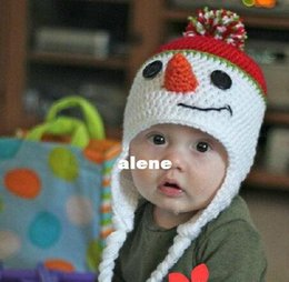 kids winter christmas snowman crochet hats newborn photography props caps baby girls boys outfits