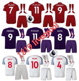 Thai top quality 2019 soccer jersey adult kit+socks+patch 18 19 home away MANE Salah FIRMINO HENDERSON MILNER WIJNALDUM football uniforms