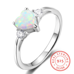 united states distributor rhodium plated rings white fire opal genuine 925 silver heart shaped finger ring designs for girls