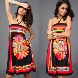 Summer Dress Women 2018 Casual Strapless Floral Bohimian Beach Dress Bodycon Sarafan Office Sexy Ladies Sundress Vestidos