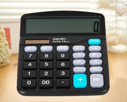 Deli 837ES Solar Energy Calculator 12 Digit Large Screen Calculator Fashion Computer Financial Accounting Dual Power Supply High Quality