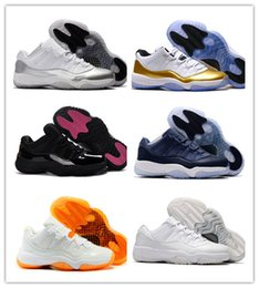 High Quality Men Basketball Shoes Retro 11 White Black Gold Sport Shoes Sneaker with shoe box