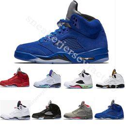 Designer 2018 Men 5 5s Basketball Shoes Red blue Suede OG Black Metallic Olympic Gold Space jam Sport Sneakers size 41-47