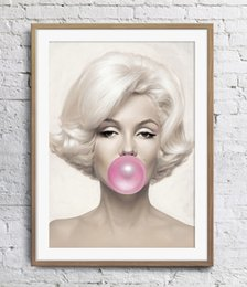Marilyn Monroe Bubblegum Pink Painting Home Decor Art Poster Print 16 24 36 47 inches