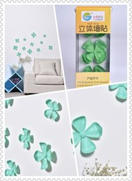 (Promotion: Buy 1 get 1 free)Flower 3D Wall Stickers Green color(12pcs box)