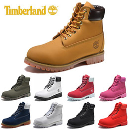 Original Timberland mens women winter boots chestnut black white red blue Grey green womens men designer boot size 5.5-11 fast shipping