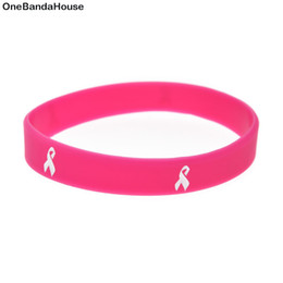 Wholesal 100PCS Lot Decoration Bracelet Cancer Ribbon Silicone Wristband Great for Daily Reminder By Wearing This Bangle