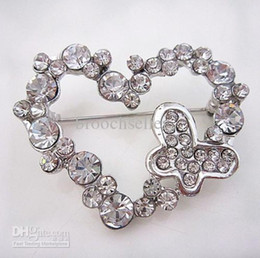 Silver Tone Heart and Butterfly Rhinestone Crystal Diamanted Brooch