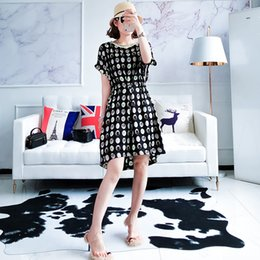 2018 summer new style Marmalade girl XT88-88632 fashion printed medium round neck slim dress