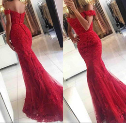 2018 Lace Mermaid Appliques Off Shoulder Prom Dresses Vestido De Festa Beaded Sequins Long Evening Gowns