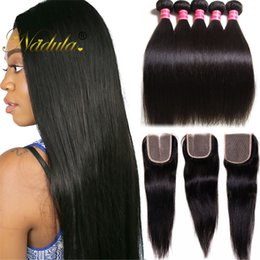 Nadula 100% Human Hair Extension Peruvian Straight Hair Weave Buy 4Bundles Get 1Free 4*4 Closure Remy Hair Double Machine Weft Natural Color