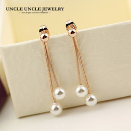 Rose Gold Color White Simulated Pearl Simple Long Style Tassel Woman Earring Wholesale
