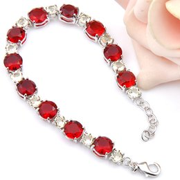 2 Pcs Lot High Quality fashion Round Shaped Red Garnet Silver Chain bracelet jewelry for party wholesale Christmas Gift B0009